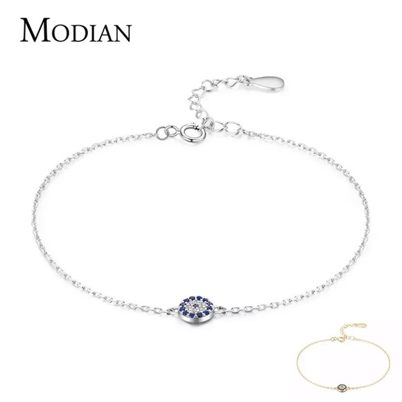 Delicate Sterling evil eye bracelet